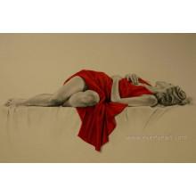 100% handmade lona arte dormindo menina nu na lona para decoração para casa (EBF-070)