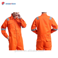 Utility 65% Polyester 35% Cotton Twill Fabric Orange Protective Working Coverall For Construction Roadsafety Mechanic