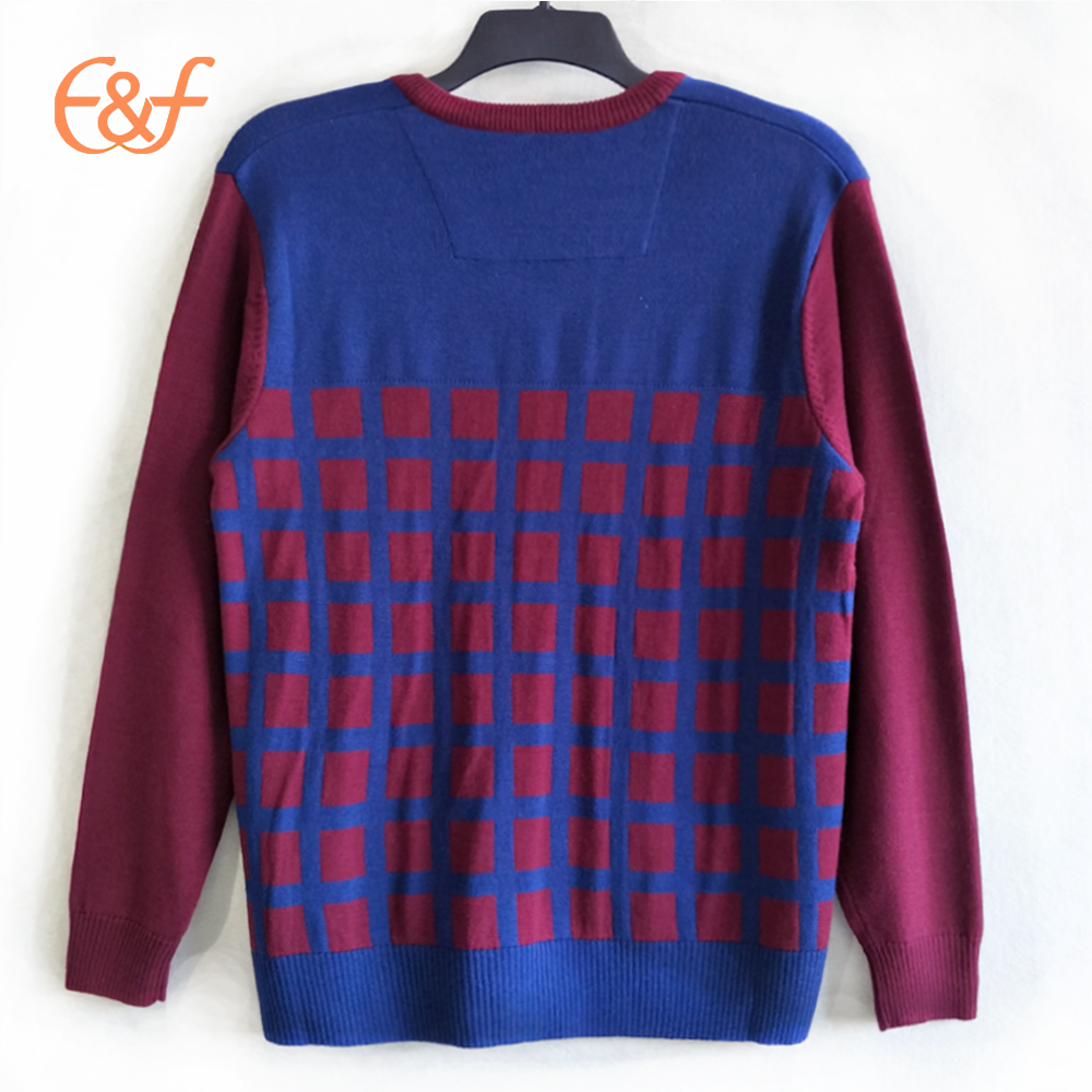 Classic Pullover Plaid Design Mens Casual Sweater back look
