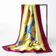 Mano pintura charmuse silk musulmanes cuadrados bufanda