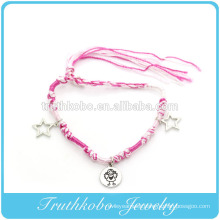 Best selling accessories imitation eco-friendly zinc alloy heart charm bracelets with pink soft yarns
