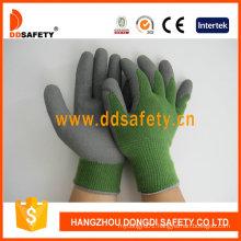 10 Gauge Green T/C Shell Grey Latex Foam Coating Working Gloves Dkl412