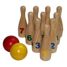 Traditionelle Form Mini Wooden Bowling Set Spielzeug zum Verkauf