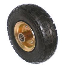 Borracha em aço inoxidável única roda (preto)