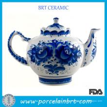 Tetera tradicional china azul y blanca