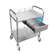 Medical furniture mobile stainless steel hospital furniture tray trolley with drawers