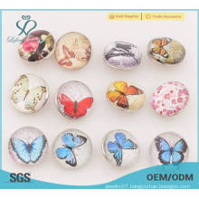 Butterfly pattern metal button snaps,18mm press metal snap button