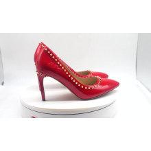 Rivet sole fashion elegant women wide fit shoes ladies genuine leather pumps pumps high quality ladies high heel shoes