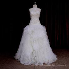 XF590 Vestido de bola sin tirantes del organza de la colmena el último diseño nupcial del vestido de boda