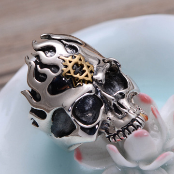Fashion six-pointed star skull ring