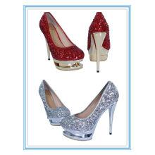 Plata magnífica de la mujer de la plataforma del alto talón de la venta / zapatos rojos de la boda de los cequis (WS-5004)