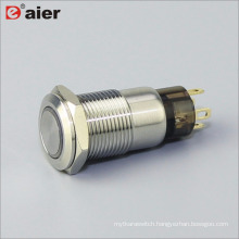 12mm Flat Button Ring Lamp Latching Metal Push Button Switch