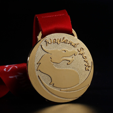 Złoty Sliver Brass Custom Metal Medal With Ribbon