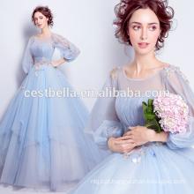 Nova moda 2017 elegante vestido de bola azul claro doce vestido de noite vestidos de festa com manga longa