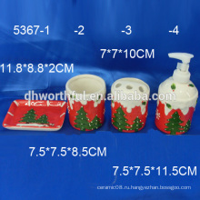 2016 новых предметов! Керамические аксессуары для ванной комнаты с классической рождественской росписью
