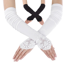 """Grace Karin Womens 19"""" Lace Embellished Pleated Black And White color Fingerless Gloves Bridal Wedding Gloves CL010471"""