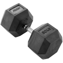 5-50lbs Rubber Coated Hex Dumbbell with Chrome Handle