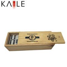 Personalizado preto pontos dominó fornecedor ouro China na caixa de madeira