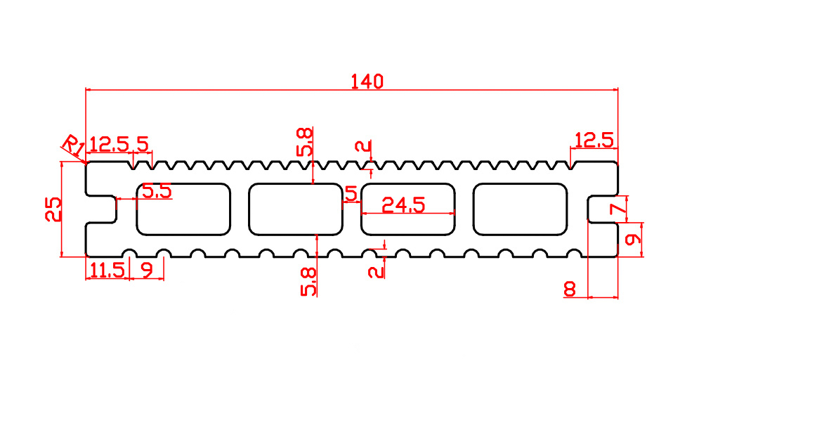 140x25mm 4 holes plank
