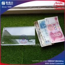 Acryl High Clear Geld Währungsinhaber mit Maganet
