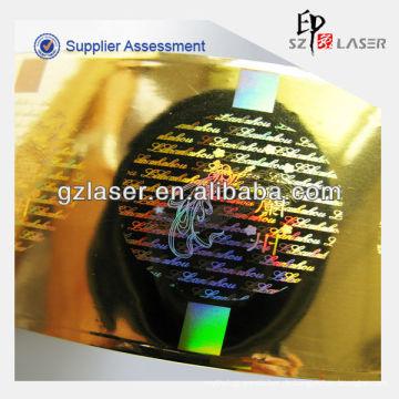 Günstige Heißprägung Sicherheit Aufkleber Druck mit Hologramm
