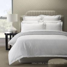 Roupa de cama 100% listrada barata por atacado da coleção do hotel do algodão