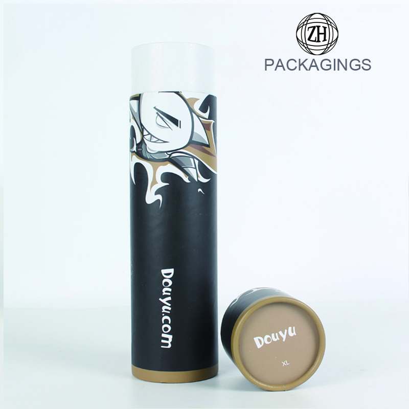 New designed black t shirt paper packaging tube