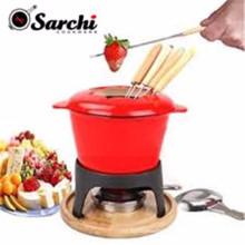 Sarchi 1.6-Quart Cast Iron Meat Fondue Set, 11-Piece, Red
