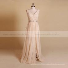 Simple estilo V cuello de encaje de gasa Boho vestido de novia con cinturón desmontable