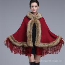 Senhoras moda acrílico de malha faux fur inverno franja xaile (yky4458-1)