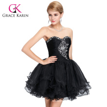 Grace Karin Strapless Sweetheart Beaded Sexy Short Black Homecoming Dresses CL6077-2