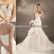 WD4262 perlée en tricot émaillé et perles brodées sur le corsage avec des robes de mariée en mousseline de soie déformées en ligne