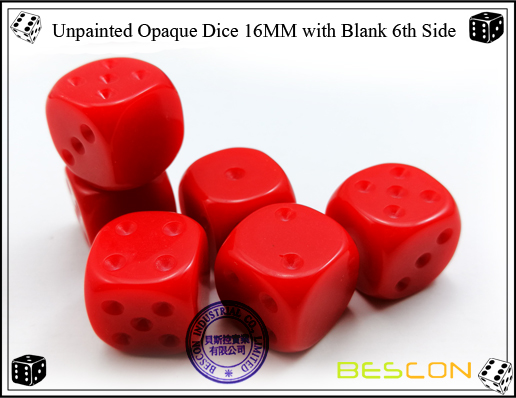 Unpainted Opaque Dice 16MM with Blank 6th Side-11