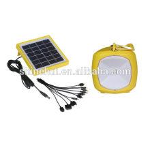 Linterna solar con el cargador del teléfono móvil, USB portable La manivela Dynamo recargable pequeño USB LED solar que acampa linterna solar
