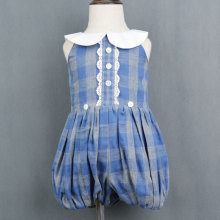 Kids Blue Cotton Flannel Plaid Ruffle Romper