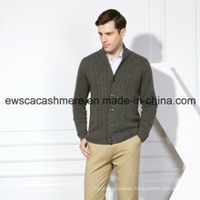 Men′s Pure Cashmere Sweater with Cables