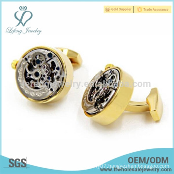 Trendy copper plating gold cufflinks for men,design watch cufflinks