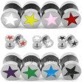 Einzigartige Design lila Sterne Gefälschte Tunnel Ohrringe Piercing Schmuck