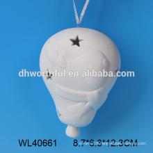 Hot selling white porcelain ceramic hanging christmas lantern with reindeer pattern