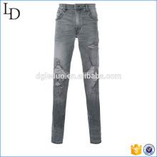 Azul, cinza rasgado jeans skinny preto destruído jeans modelo para homens