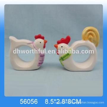 2016 anillos de servilleta de cerámica más populares, anillos de servilleta de pollo en forma de animal