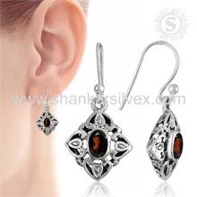 Bijoux en grenat rouge réchauffant le coeur Bijoux en argent sterling Grossiste Bijoux en argent