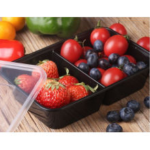 Récipient de nourriture à emporter jetable en plastique micro-ondes de couleur noire bon marché