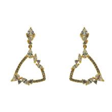 925 Sterling Silber Dangle Ohrringe mit Gelbgold