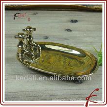 Золотая тарелка керамическая коробка для мыла