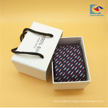 High quality custom white color tie gift packing box with rope