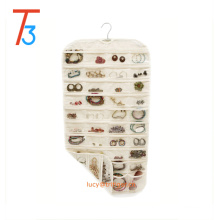 Natural Canvas 80 pocket Hanging Jewelry Organizer with Metal Hook