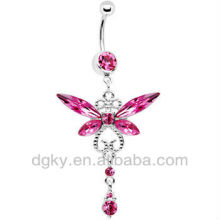 Pink Gem Dragonfly Drop Belly Ring