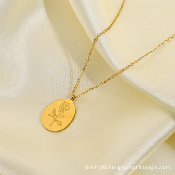 Punk 18K Gold Plating Stainless Steel Rose Flower Oval Coin Medal Pendant Necklace