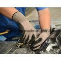 Revestido de Nylon cinza de malha trabalhando luva com areia nitrilo (N1558)